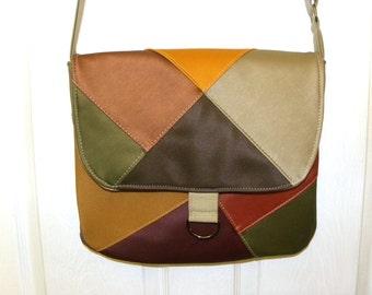 Vinyl upholstery sample patchwork messenger bag