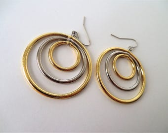 Mixed Metal Earrings, Metal, Silver, Gold, Plated, Circular, Geometric Earrings,