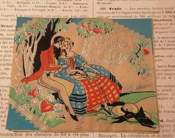 Art Deco Valentine Card / Vellum Card Man Woman Beautiful!!