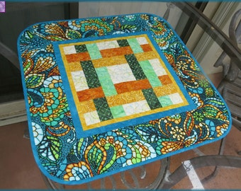 Table Topper Quilted Art Glass Turquoise Quilt 617