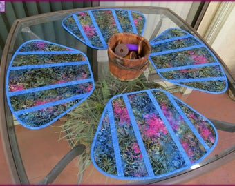 Quilted Olive Blue Batik Placemats 491