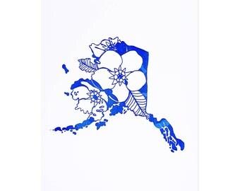Letterpress Alaska Forget Me Not