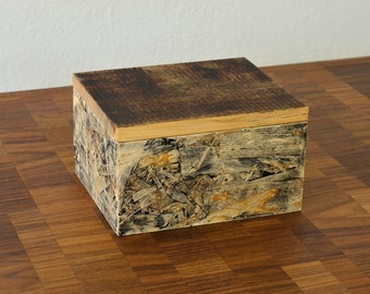 Hand made small box, reclaimed wood, OSB, unique box