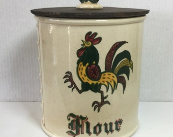 Vintage Metlox Poppytrail Red Rooster Canister Flour California Pottery