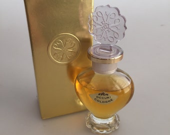 1960s Vintage AVON OCCUR COLOGNE Snowflake Top with Avon Logo Original Box Never Used Commercial Perfume Bottle
