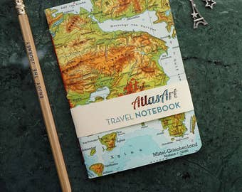 NOTEBOOK SMALL, Greece, Athens, 4x5,8inch, 32 p., plain/ruled, travel journal, diary, atlas, map, vintage, upcycling