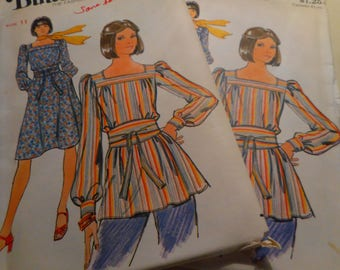Vintage 1970's Butterick 4471 Dress, Top and Obi Sash Sewing Pattern, Size 9, Bust 32