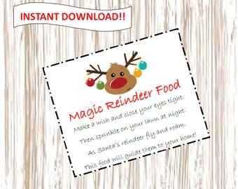 INSTANT DOWNLOAD Magic Reindeer Food Tag. Printable.