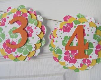 Photo Banner first year banner, 12 month banner, photo banner, Hawaiian Birthday Decorations