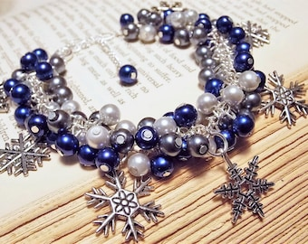 Silver and Blue Beaded Snowflake Charm Bracelet