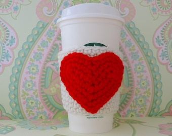 Crochet Red Heart Reusuable Cup Cozy/Sleeve, Eco Friendly Cup Cozy/Sleeve - Ready to Ship