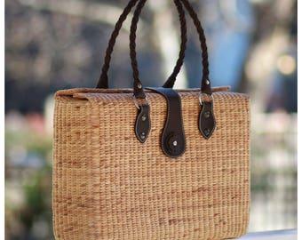 Handwoven straw handbag// seagrass basket// picnic tote// market tote// straw bag (Kayla Tote)