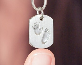 Your child's actual handprint and footprint as a tiny necklace pendant - Baby Keepsake, Custom Necklace, Child Handprint, own footprint