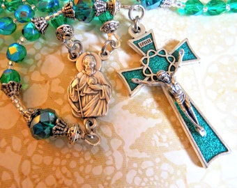 St. Jude Rosary-Catholic Traditional Five Decade Rosary-Patron of Hopeless Causes-Made By Lily of Peace on Etsy