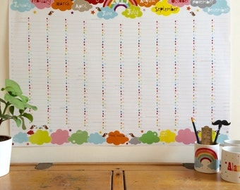 2017 rainbow Wall Planner, large family wall calendar, rainbow planner, A1 wall planner, 2017 calendar, 2017 planner, uk seller halfpinthome
