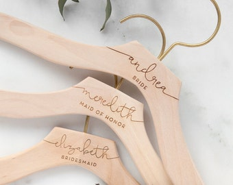 Personalized Wedding Dress Hanger, Calligraphy Hanger, Bride Hanger, Bridal Hanger, Personalized Engraved Hanger, Bridesmaid Gifts Hangers