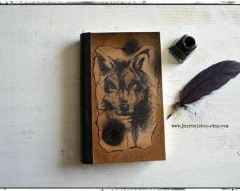 Wolf sketchbook, notebook, diary, journal  with 300gsm smooth  Bristol paper