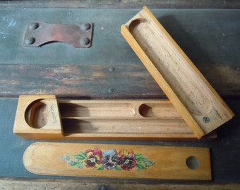 Vintage Wooden Pencil Box Sliding Swivel 3 Sections
