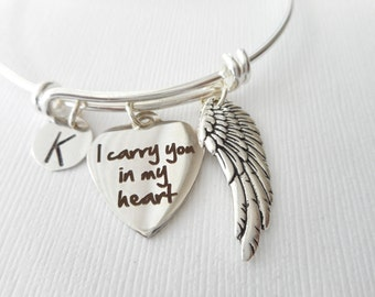 I Carry You In My Heart, Angel Wing- Initial Bangle/ Initial charm, custom gift, remembrance, mother, aunt, uncle, cousin, brother, friend