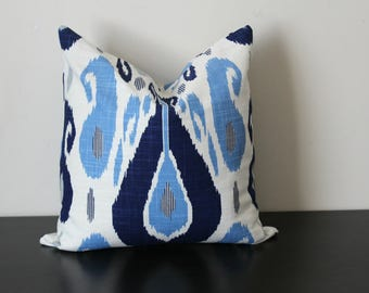 Decorative Pillow Cover, Blue and White Ikat Pillow Cover, Toss Pillow, Accent Pillow, Lumbar Pillow, Blue Fasil Lapis Duralee John Robshaw