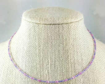 Pink / Purple Seed Beaded Necklace