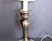 Vintage Silver Candlestick Accent Lamp Victorian Accent Lighting