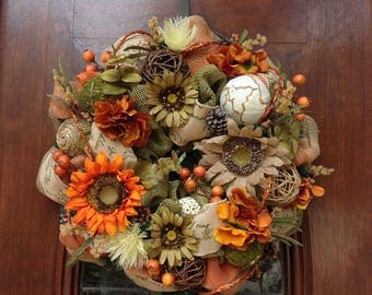 Burlap and Mesh Fall Flower Wreath or Centerpiece