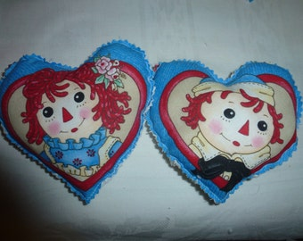 Two Raggedy Ann and Andy Valentine Heart Pillows