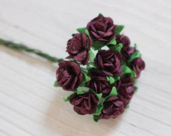 purple mulberry paper roses, craft flowers