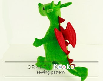 Stuffed animal sewing pattern, Dragon plush sewing pattern, Dragon sewing pattern - instant download pdf pattern - sewing projects