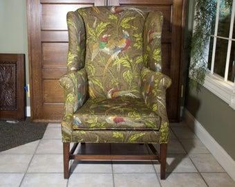 Olive Bird Motiff Chair | Wingback Chair | Repurposed Vintage Chair | Milo Milo