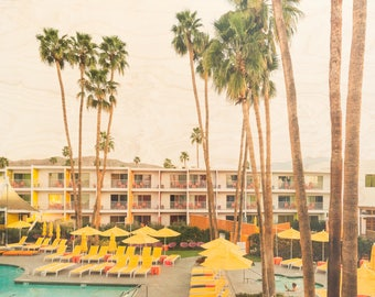 Palm Springs, 'Desert Oasis' Limited Edition Fine Art Photography, Image Transfer on Wood Panel by Patrick Lajoie, midcentury modern, pool