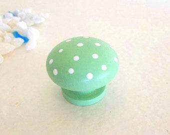 TWO set Mint Green Polka Dot Knobs Drawer Dresser knob pull Hand painted Cabinet door knob pair of green & white furniture handles hardware