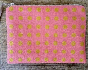 Straight Spot pouch - metallic gold on blush pink  -flat zip pouch - screen printed and handmade