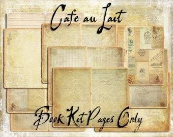 Digital Paper Pack Cafe au Lait Book Kit Pages Only downloadable printables