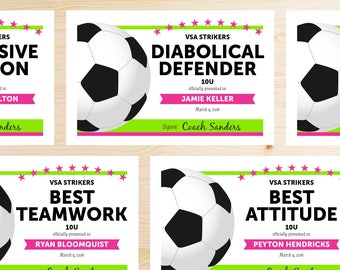 Editable Soccer Award Certificates - INSTANT DOWNLOAD PRINTABLE - Hot Pink and Lime Neon Green