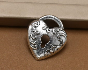 6 Lovely Heart Shaped Lock Charms Pendants Brushed Silver Tone 20x18mm