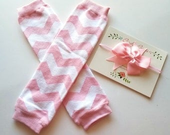Pink Chevron Leg Warmers, Headband Set, Baby Leg Warmers, Infant Leg Warmers, Legwarmers, Ruffle Leg Warmers