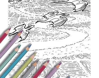 """Printable coloring page: """"Flyover Dragons"""" Instant download - PDF - migrating dragons"""