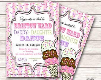 Daddy Daughter Dance. Ice Cream Shop Dance. Invitation or Flyer Printable File. Print at Home DIY