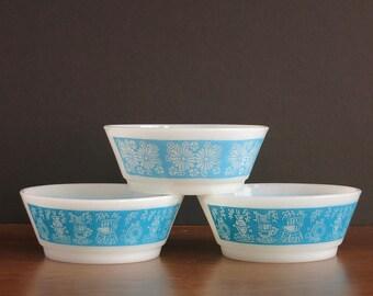 Vintage Fire-King Cereal Bowls - Anchor Hocking Fire King Cereal Bowls - Kitchen Aids, Daisy Fire-King Bowls - Vintage Blue Fireking Bowls
