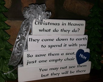 Christmas in Heaven What do they Do Memorial Sign, Blue and white... May be personalized...Rustic Treasures by Jordan's Designs