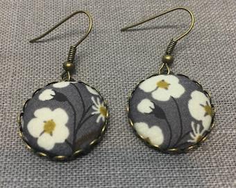 Liberty Fabric Earrings in Mitsi Grey