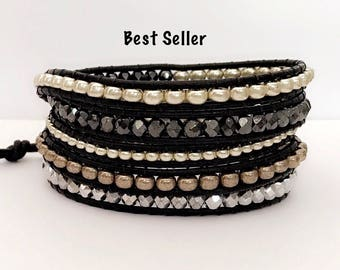 Leather Wrap Bracelet - Layers of Silver Nuggets, Hemalyke, Black Leather - Bohemian Chic