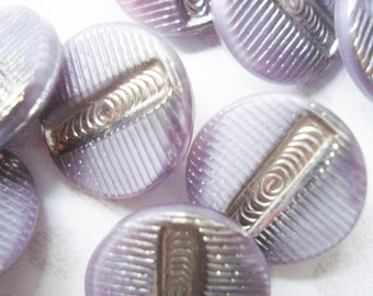 Mauve and Silver Glass Buttons - Vintage Czech Glass Buttons - 6 Vintage Purple Glass Buttons - Lilac Glass Buttons - Handpainted Buttons