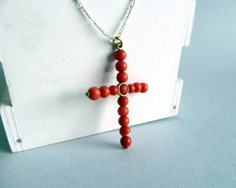 Vintage Gold and Coral Cross.