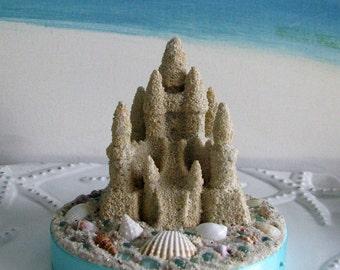 Sandcastle Seashell Beach Wedding Cake Topper