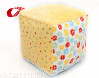 Soft Block Baby Toy - Yellow and Multicolor Buttons Block - Ready to Ship