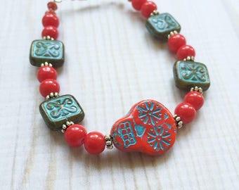 Sugar Skull Bracelet - Red and Aqua Sugar Skull Bracelet - Dia de los Muertos Bracelet - Day of the Dead Bracelet - Sugar Skulls