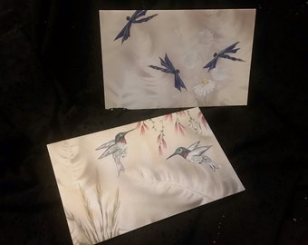 """Blank Greeting Cards 5x7 """"Dance of the Dragonfly"""" & """"Barbara's Birds"""""""